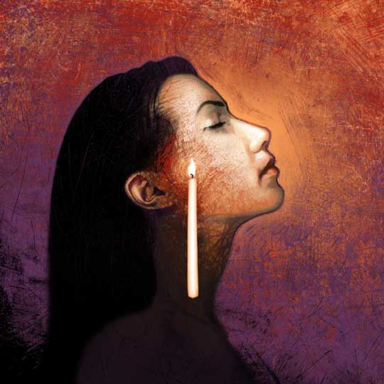 Illustration by Matt Manley of a woman with a candle lighting her profile.