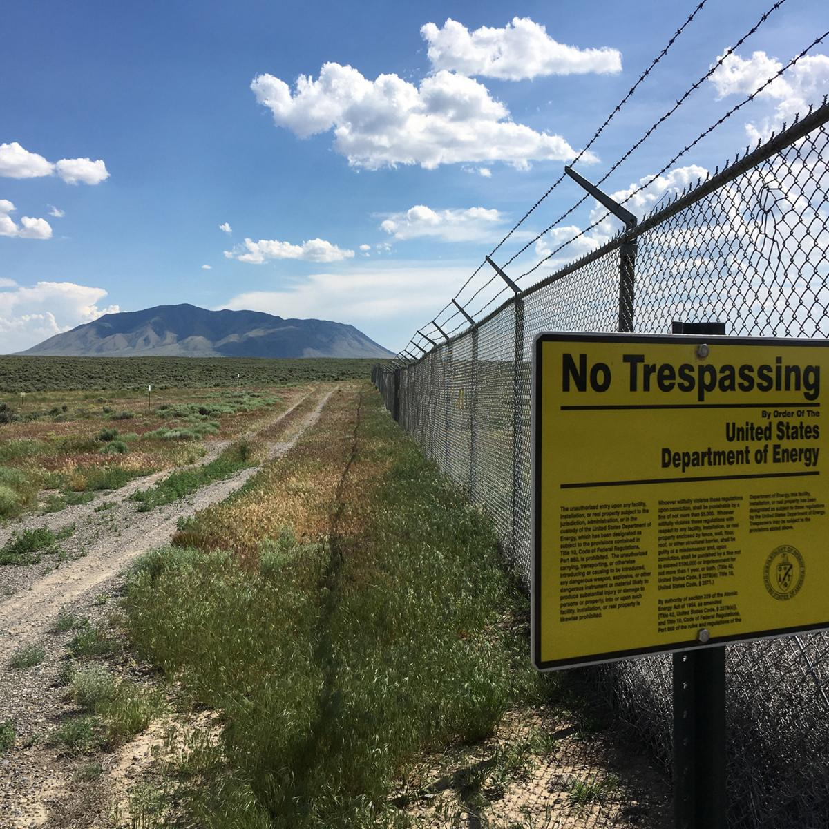 No trespassing sign at Department of Energy site