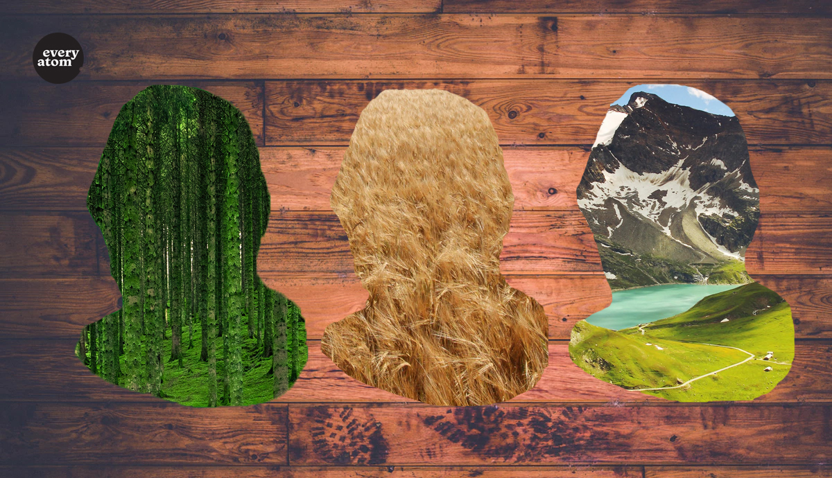 Whitmans profile cut out of various scenes of nature