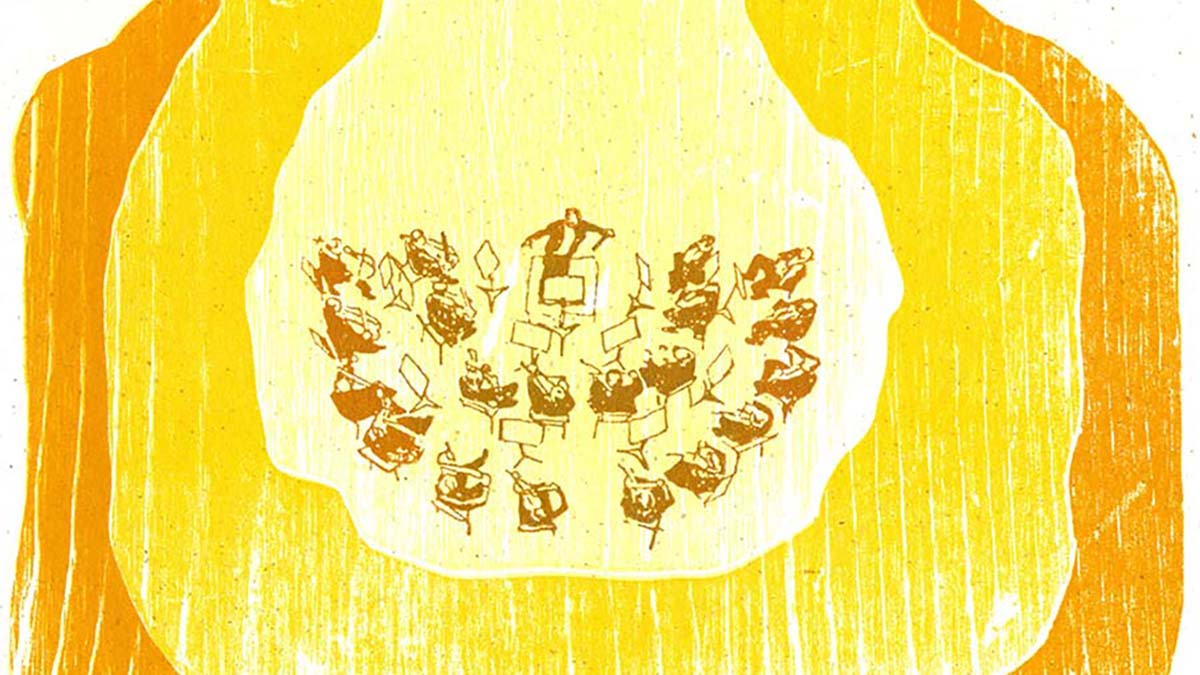 An orchestra plays in a golden glow, as of baking bread.