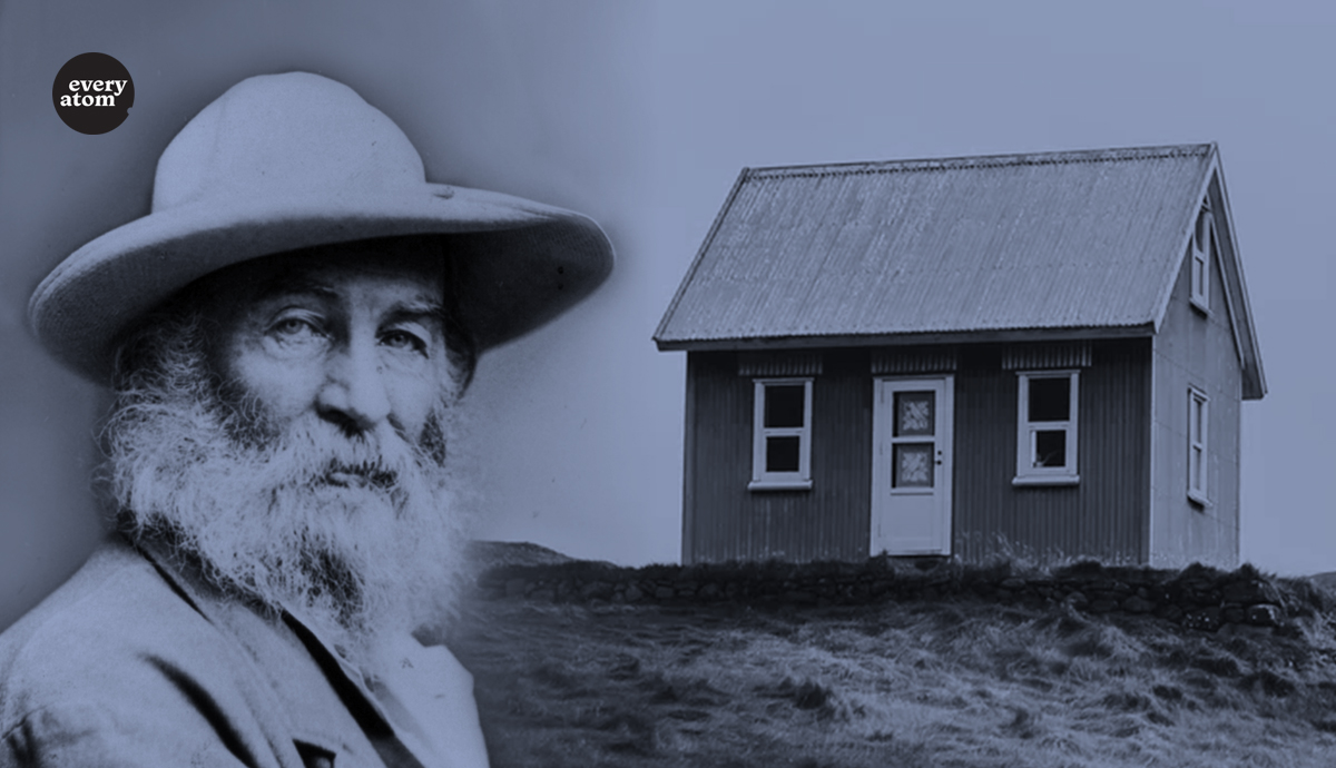 Whitman's figure next to a small home