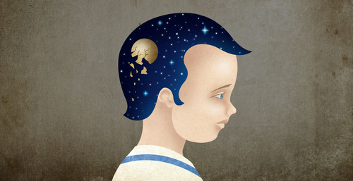 """Concussions in Youth Players"" an illustration by Vlad Alvarez depicting a young boy with hair that looks like stars."