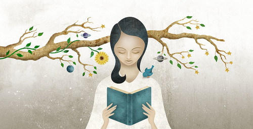 """Fruitful Reading"" an illustration by Vlad Alvarez of a girl reading in front of a tree branch."
