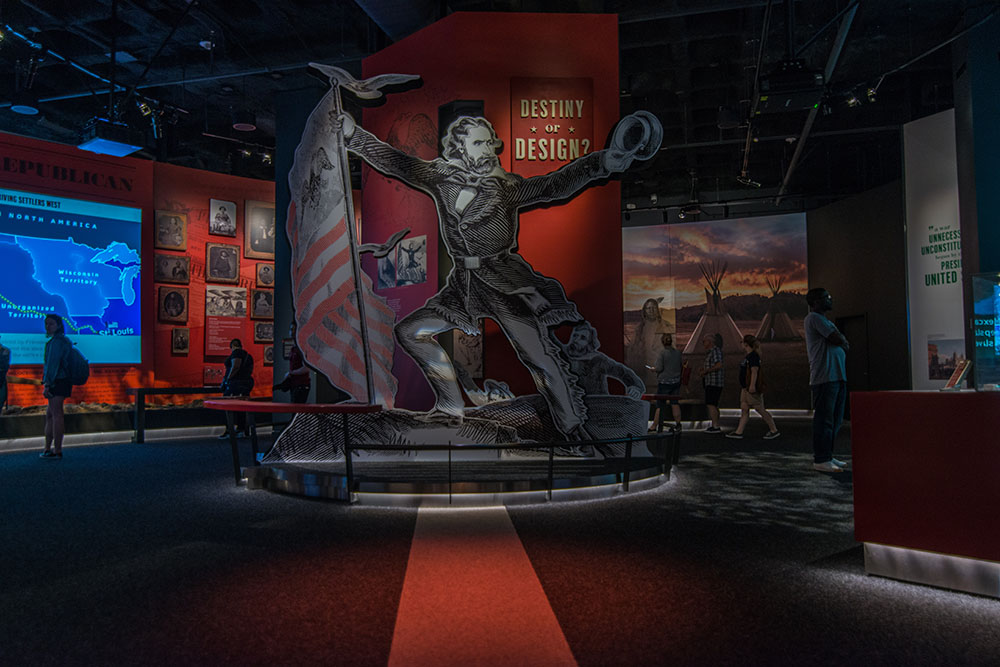Interior of St. Louis Arch Museum showing Manifest Destiny