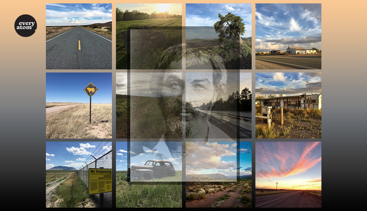 Grid of all twelve photos in the essay with early Whitman portrait