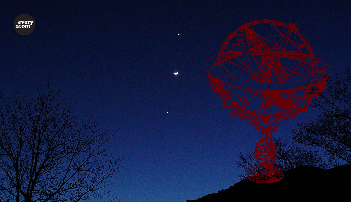 Armillary sphere against the night sky