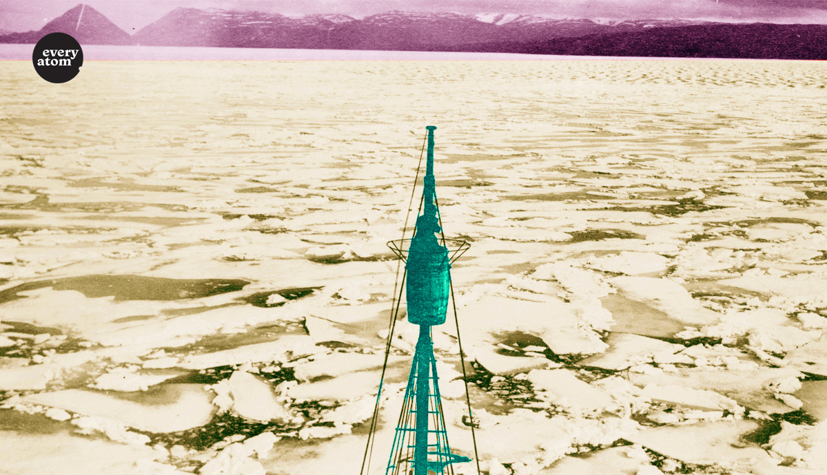 negatively colored ship mast amid an icescape
