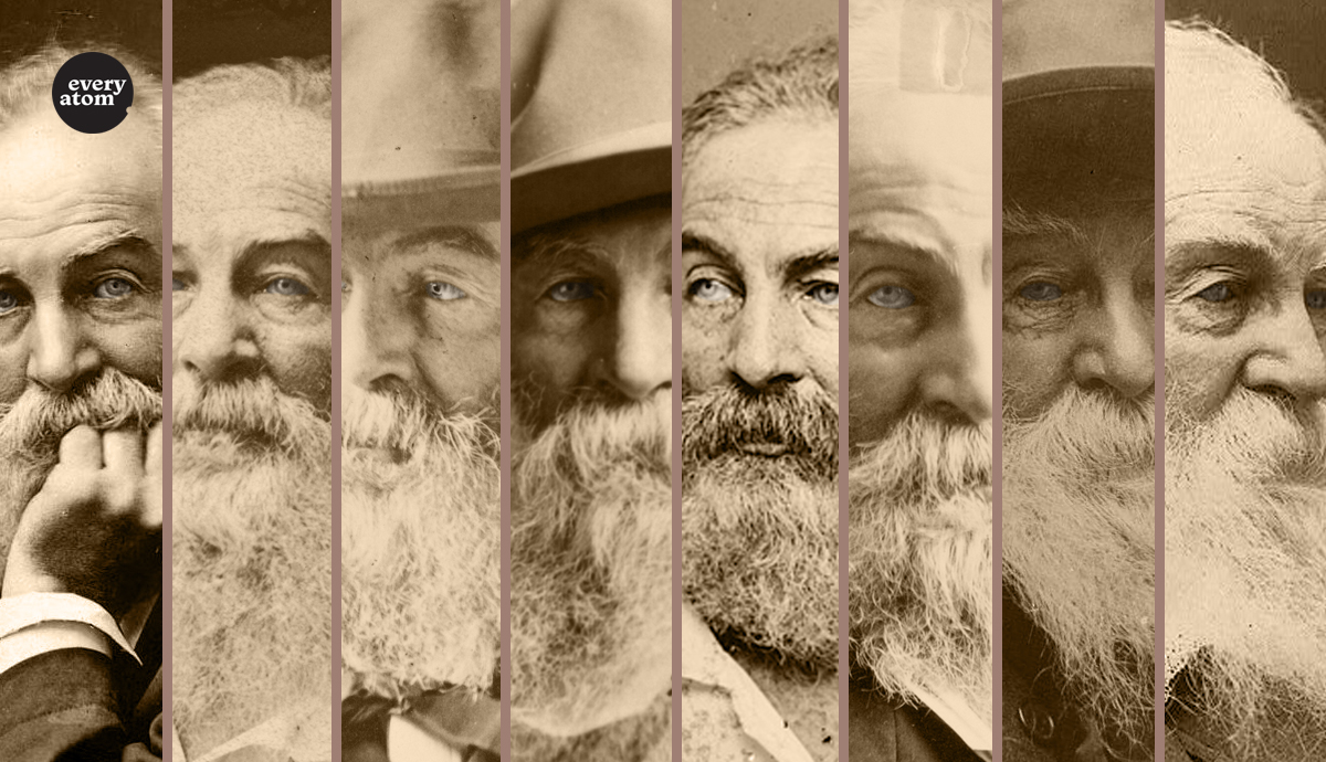 Photo montage of eight Walt Whitman portraits
