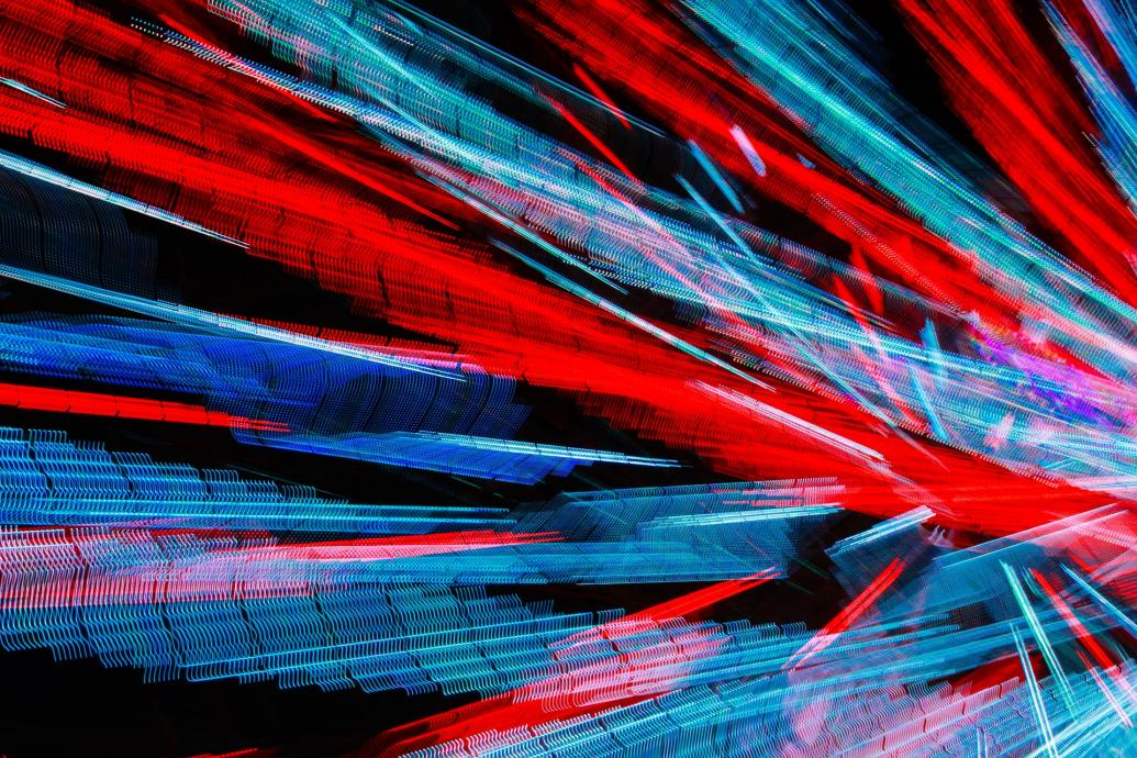 abstract red and blue light streaks