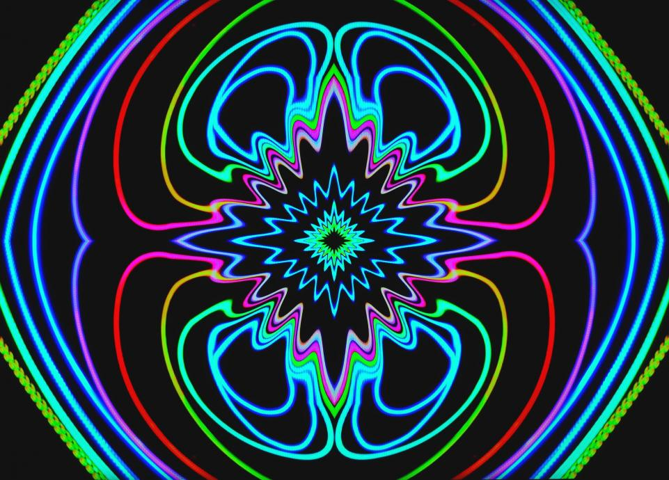 abstract neon lights in symmetrical pattern