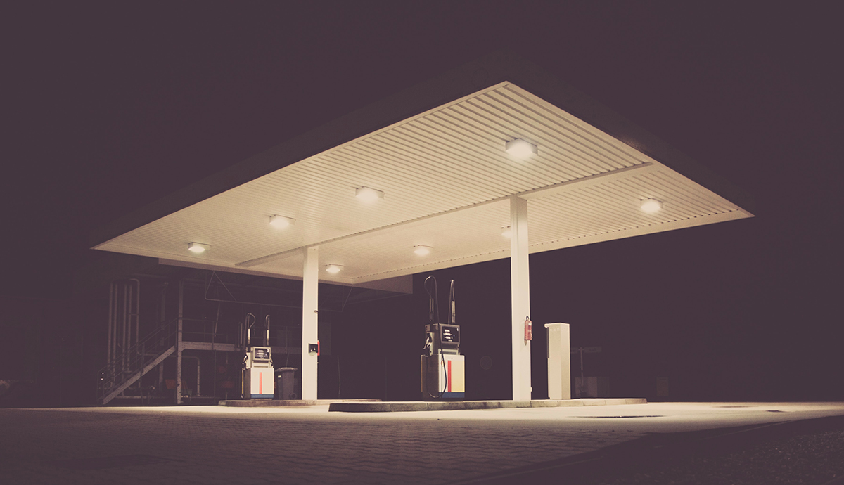 Image of gas station at night