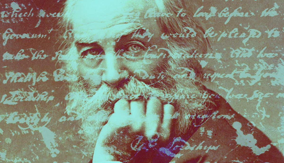 Whitman with various written lines