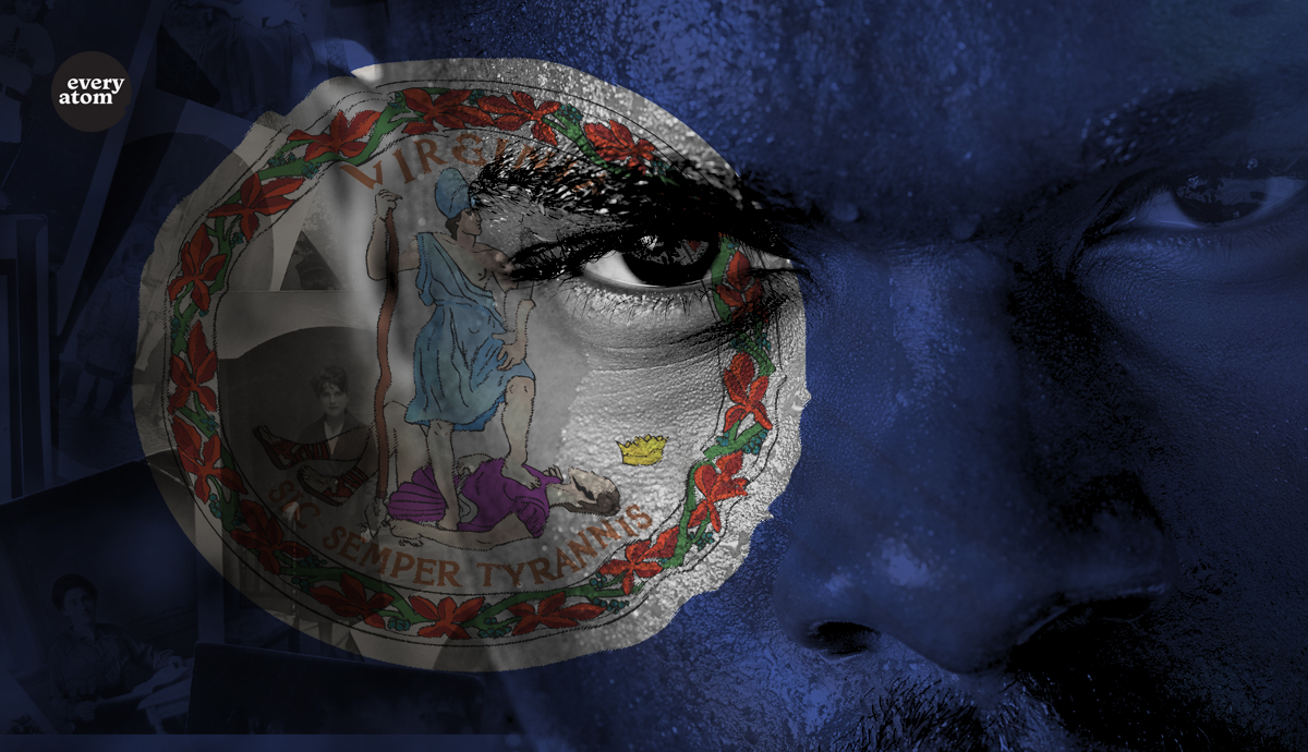 """A blue face with a sticker that has latin for """"thus always to tyrants"""""""