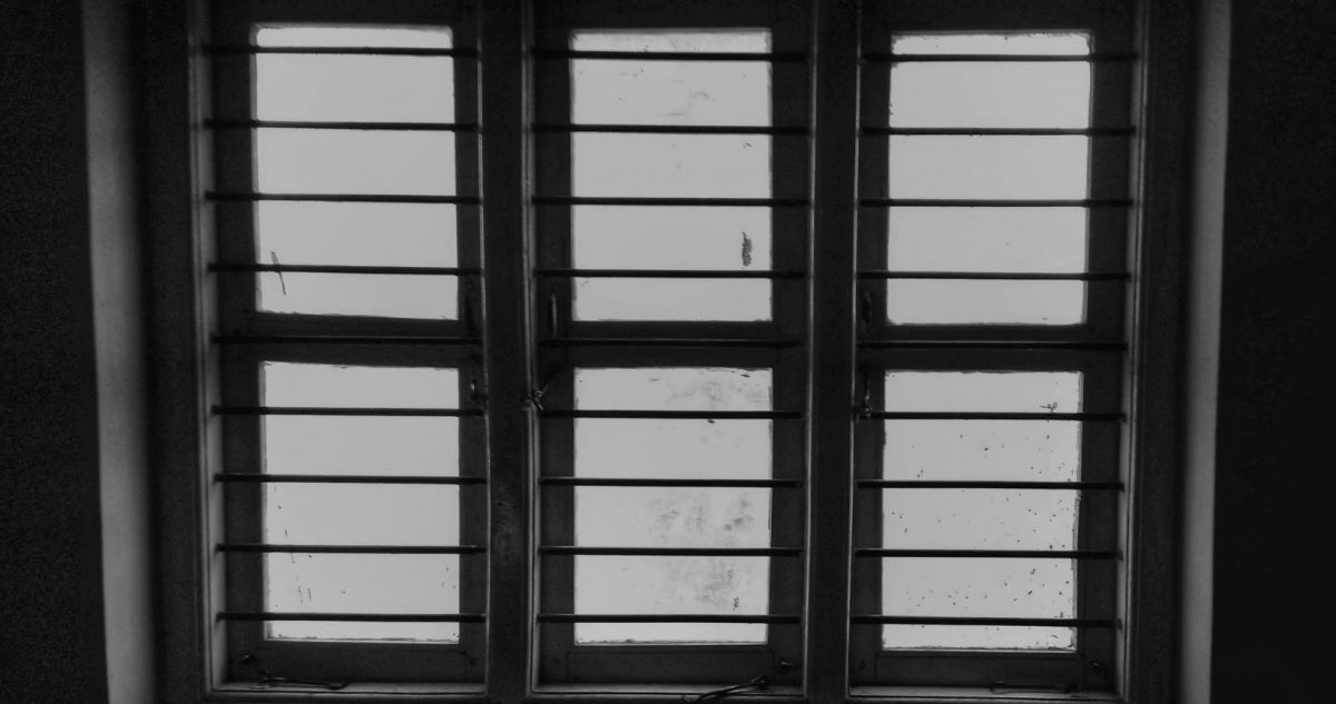 photo of a window in black and white