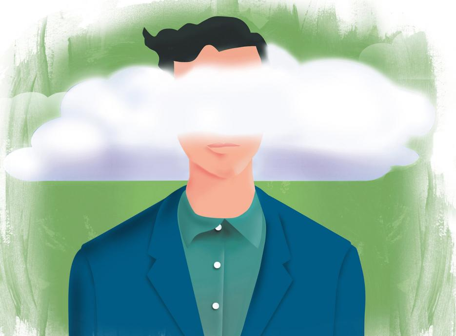 Illustration of man with his head in the clouds
