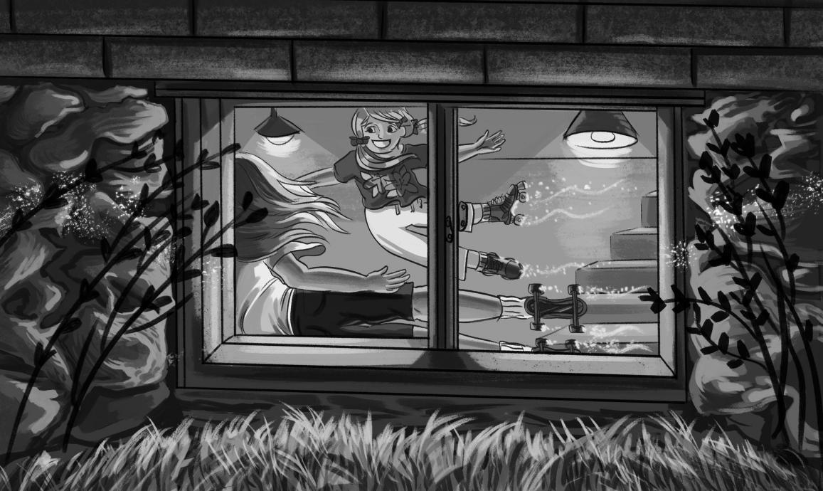 Black and White Cartoon, woman floating outside window