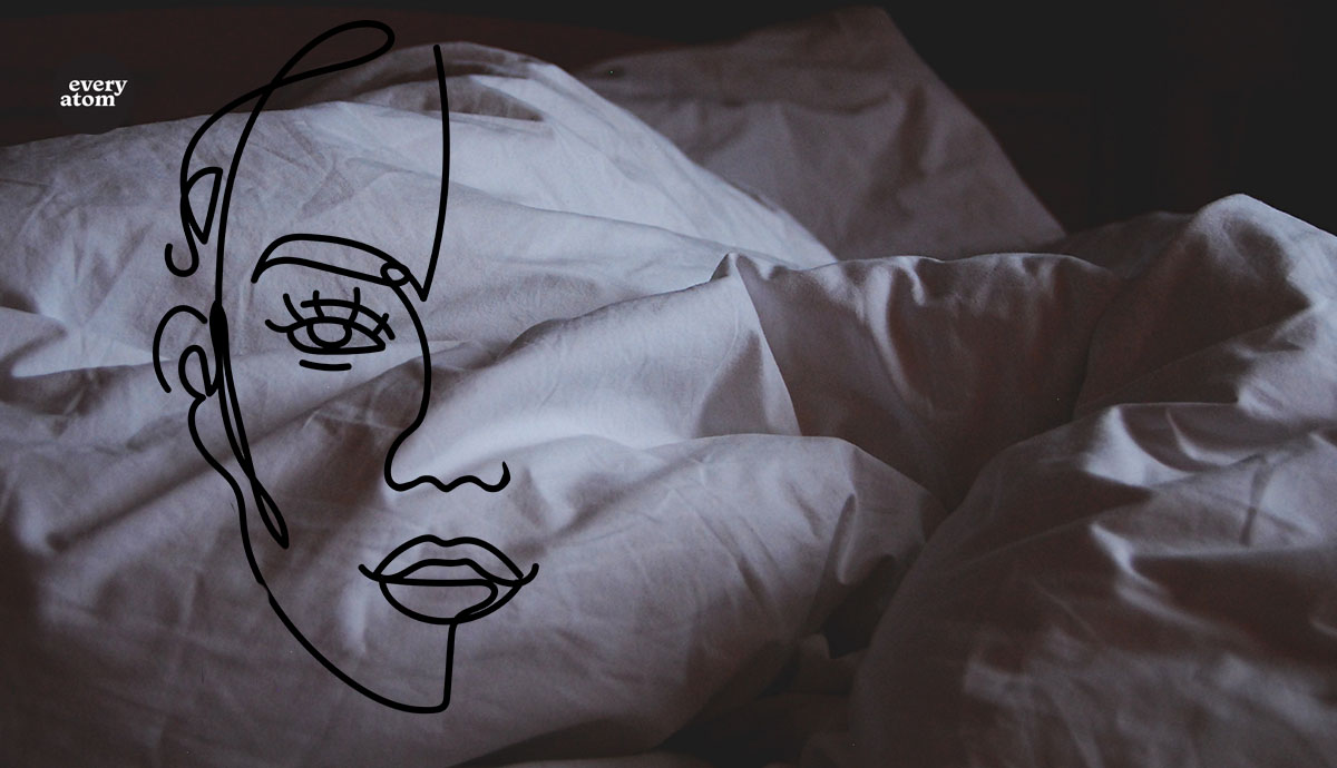 Line drawing of a face over rumpled bedding