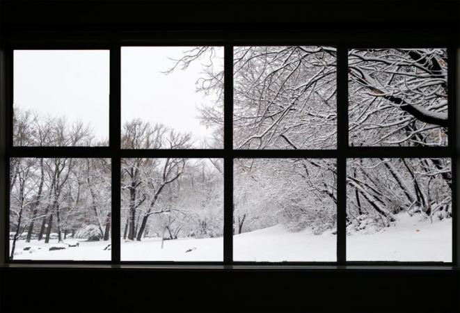 Window looking to snowy exterior