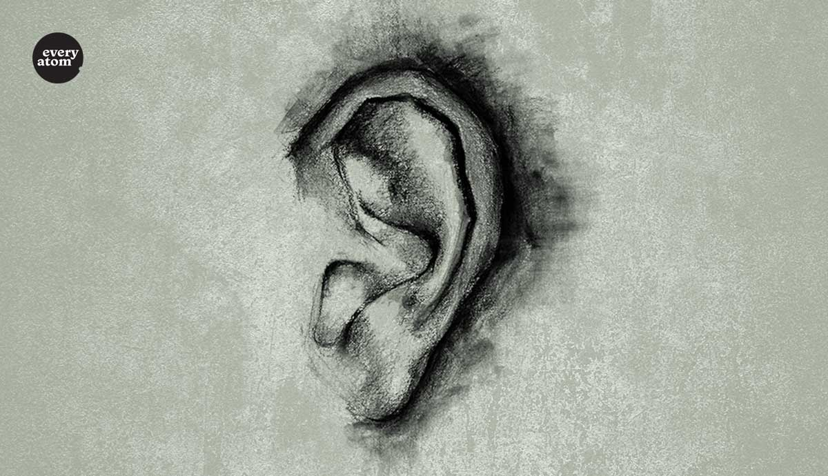 A drawn ear
