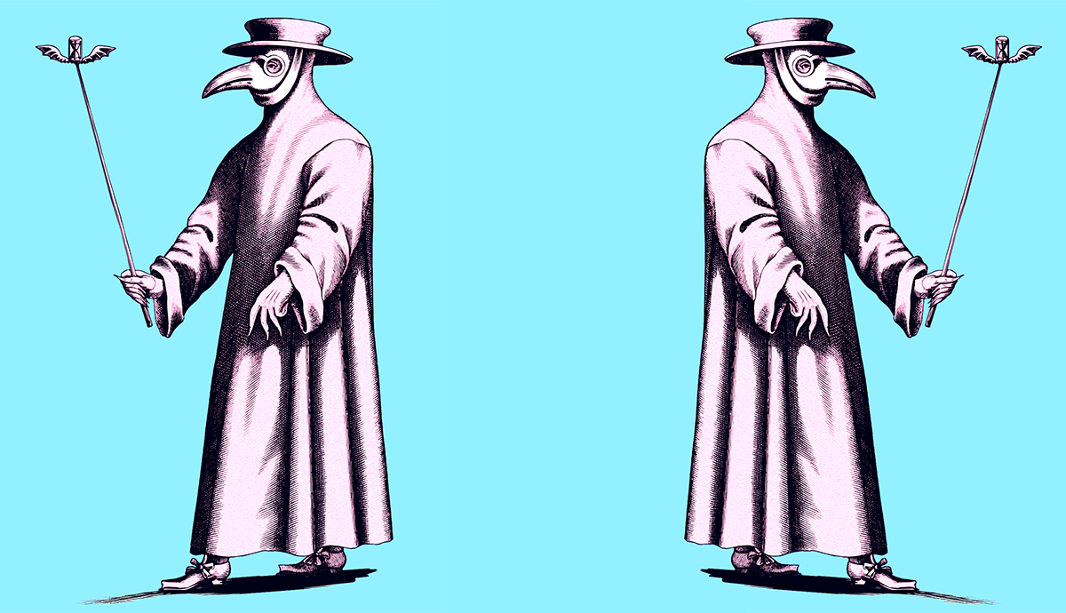 Two images of doctors in plague beaks