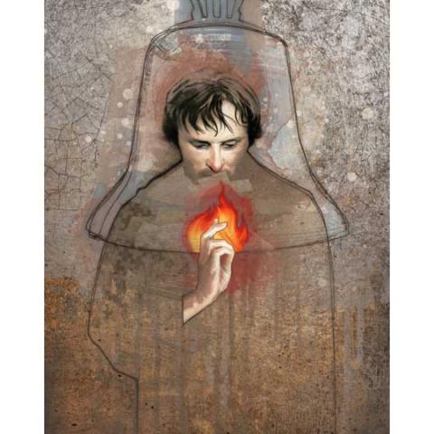 Illustration of Man Holding Fire