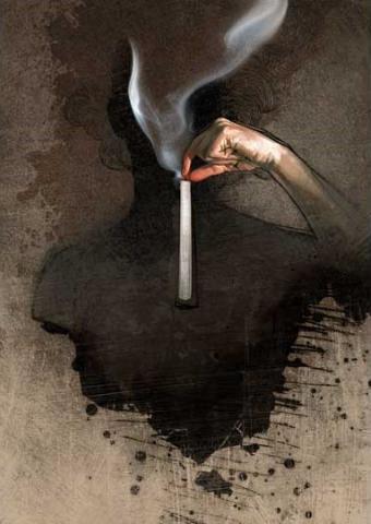 Cigarette smoke and dark silhouette