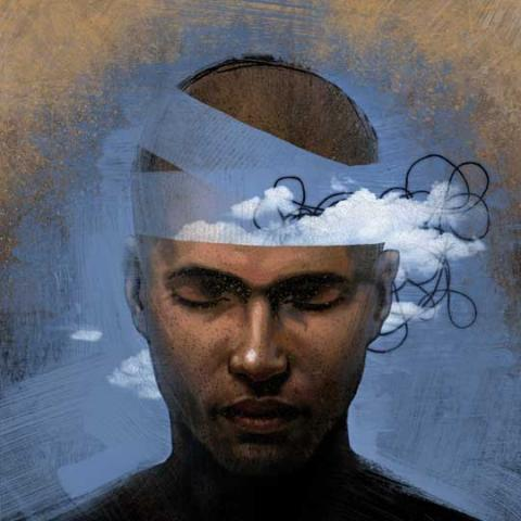 Human head with blue sky and clouds