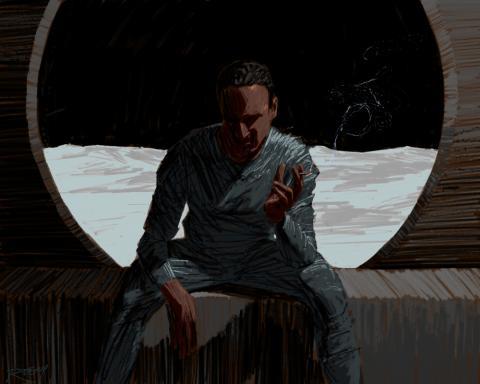 Man smoking cigarette in spaceship