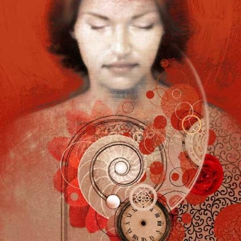 Illustration by Matt Manley of a woman with clocks and spirals in front of her.