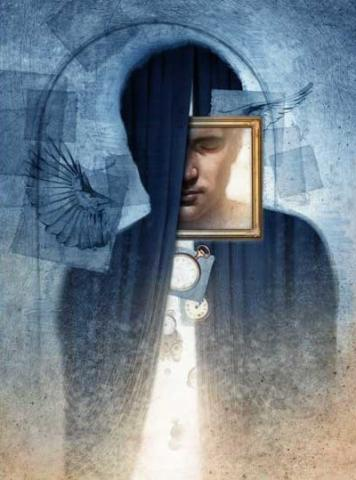 Illustration by Matt Manley of man looking through a square frame, hidden by shadows.