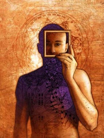 Illustration by Matt Manley of man looking through a square frame.