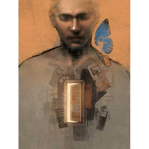 Illustration of Man with a Door in his Chest and a Butterfly by his Cheek