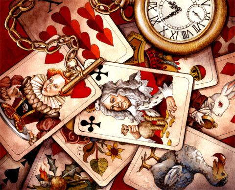 Messy Pile of Playing Cards Next to Pocket Watch