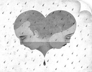 Two Sad People in Rain