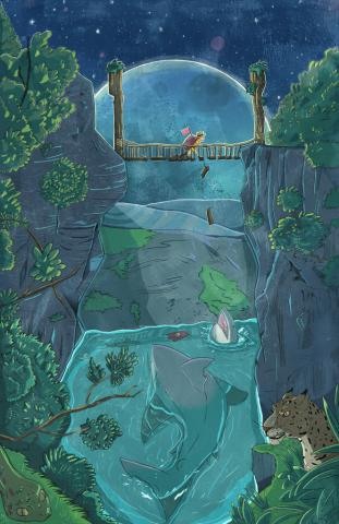 Danger in the Journey. An illustration by Christian Ruiz of a bridge with water underneath and dangers within.