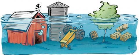 A barnyard under water