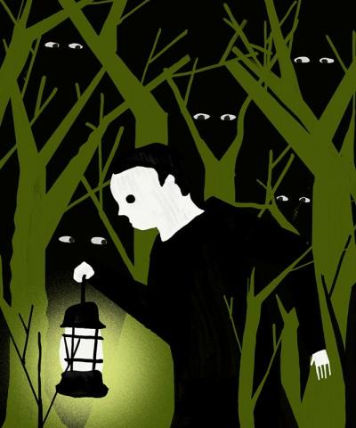 Man Walking by Lantern Light Through a Forest with Eyes Watching