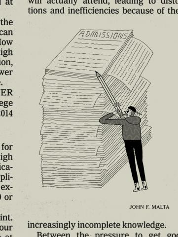 Illustration of Man Standing by a Large Stack of Papers