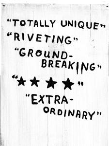 """""""Totally Unique-"""" """"Riveting-"""" """"Ground-Breaking"""" Extra-Ordinary"""""""