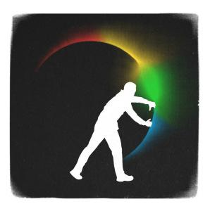 Man Opening a Round Door to a Rainbow