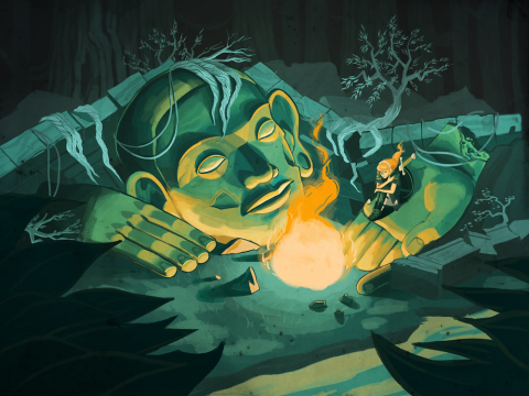 Cartoon of woman at a campfire with a giant face