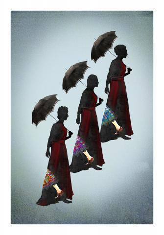 Three Sisters, walking with umbrellas