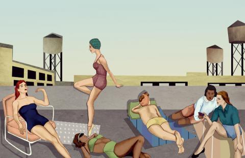 Women Sunbathing and Talking on a Rooftop