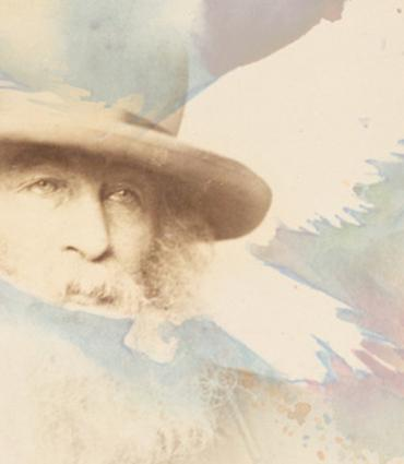Image of Walt Whitman superimposed over a bird