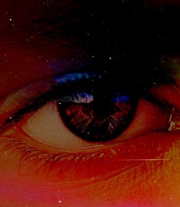 Single eye in a field of colors