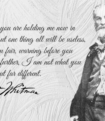 Whitman quote, signature and portrait