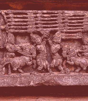 Arjuna Karna final battle, Kurukshetra war, 12th-century Mahabharata relief