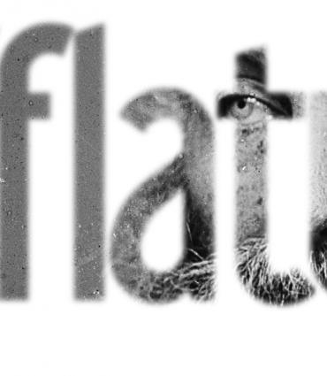 "The word ""Afflatus"" with Whitman shown through it"