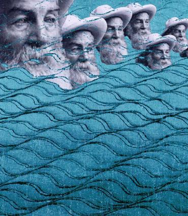 Whitman heads bobbing on drawn waves