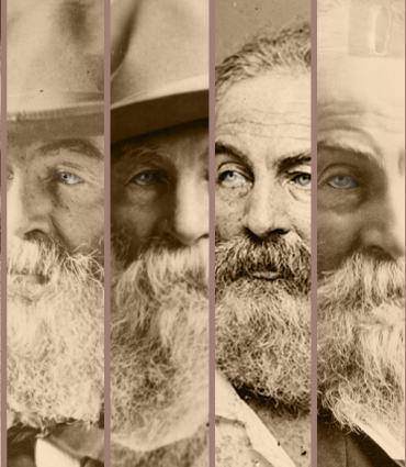 Photo montage of eight Walt Whitman portraits